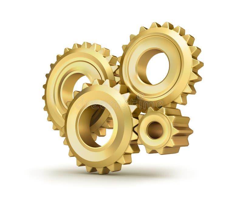 Golden cog gears. Over white vector illustration