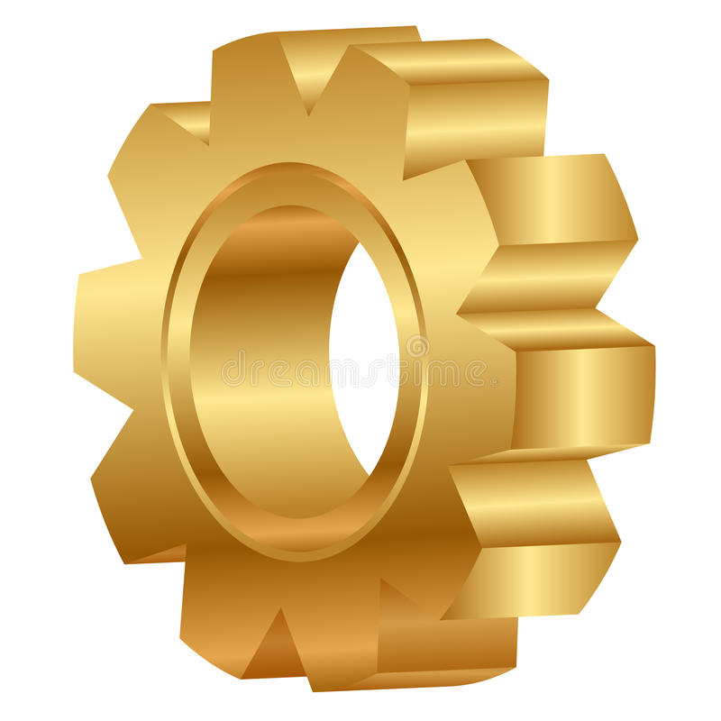 Golden cog wheel vector illustration