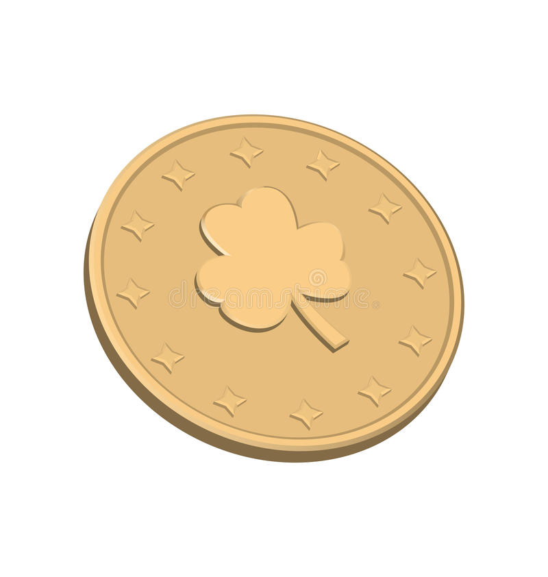 Golden coin with clover vector illustration
