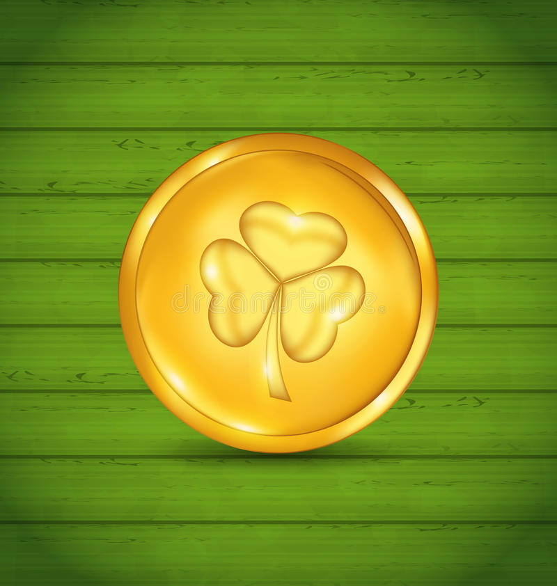 Golden coin with clover on green wooden texture for St. Patrick stock illustration