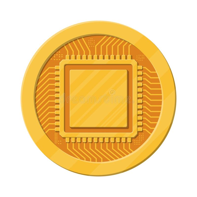 Golden coin with computer chip. vector illustration