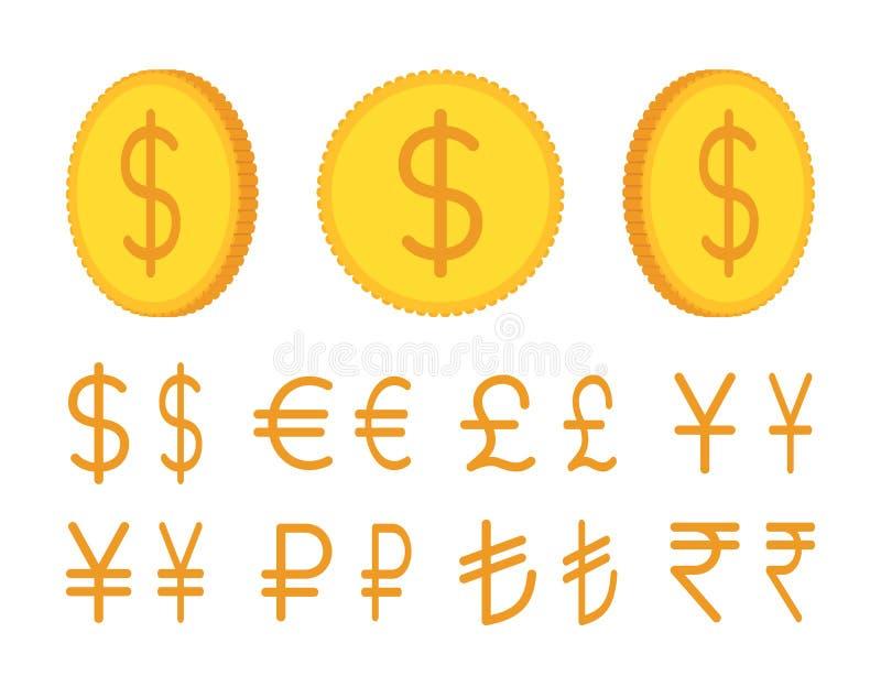 Golden coin creation set stock illustration