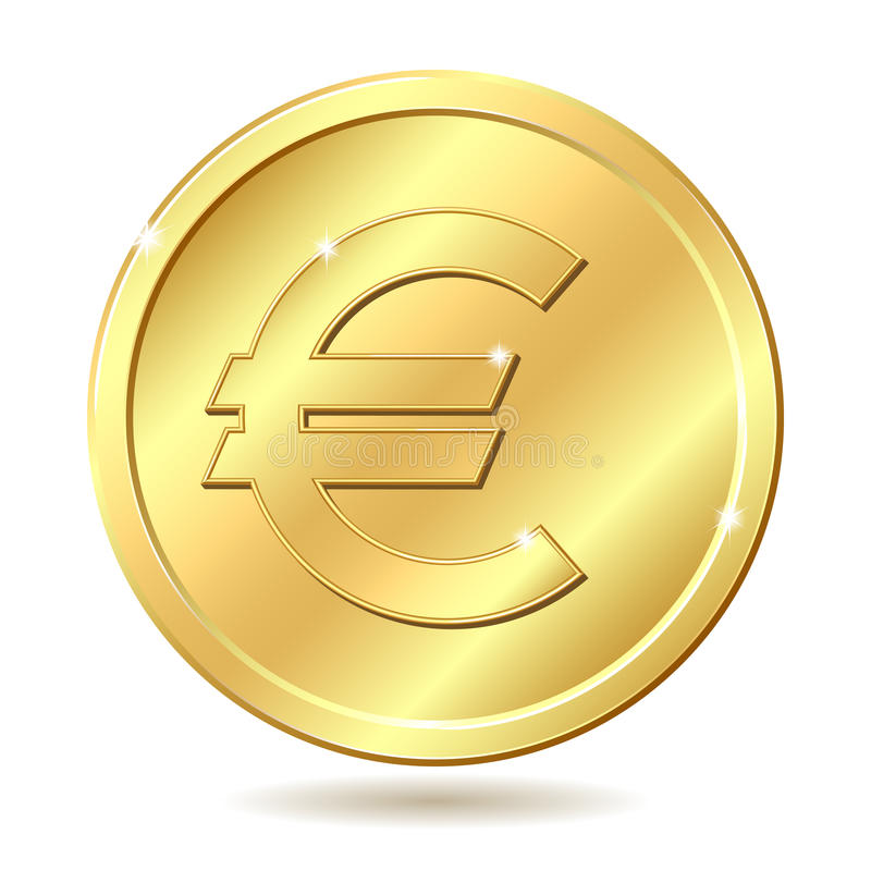 Download Golden coin with euro sign stock vector. Illustration of currency - 22872256