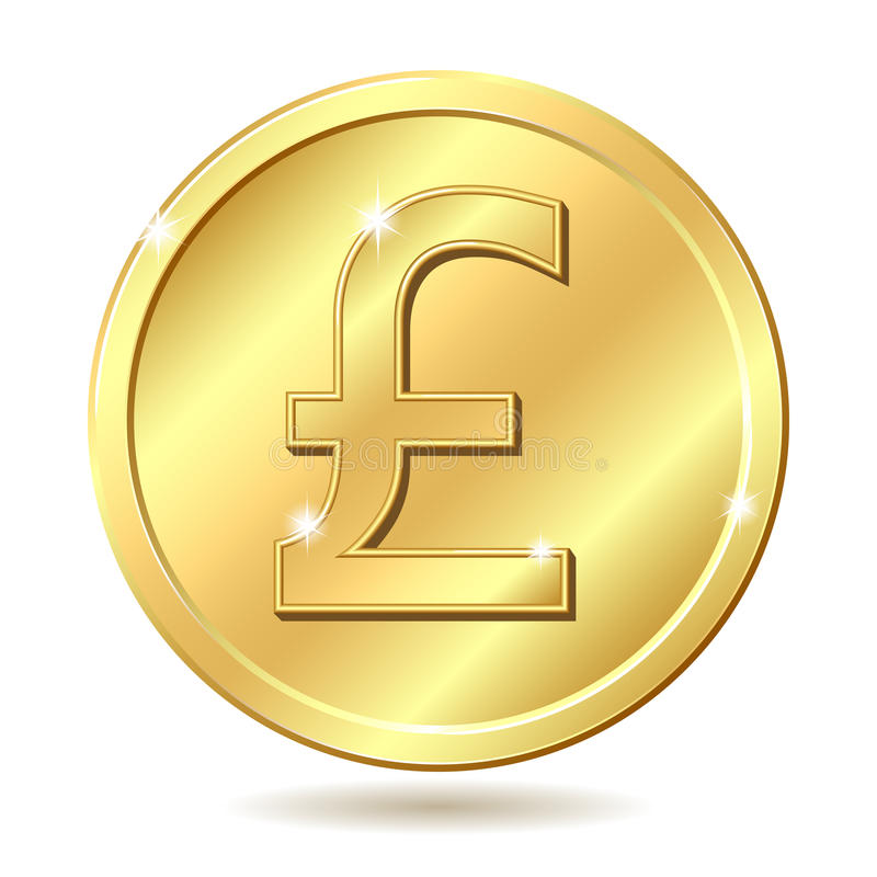 Golden Coin With Pound Sterling Sign Royalty Free Stock Photo