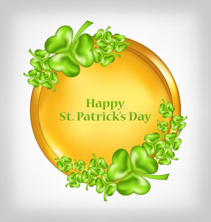 Golden coin with shamrocks. St. Patrick`s Day symbol stock illustration