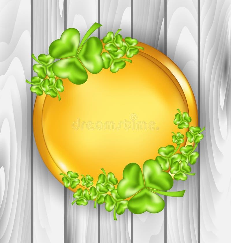 Golden coin with shamrocks. St. Patricks day symbol stock illustration