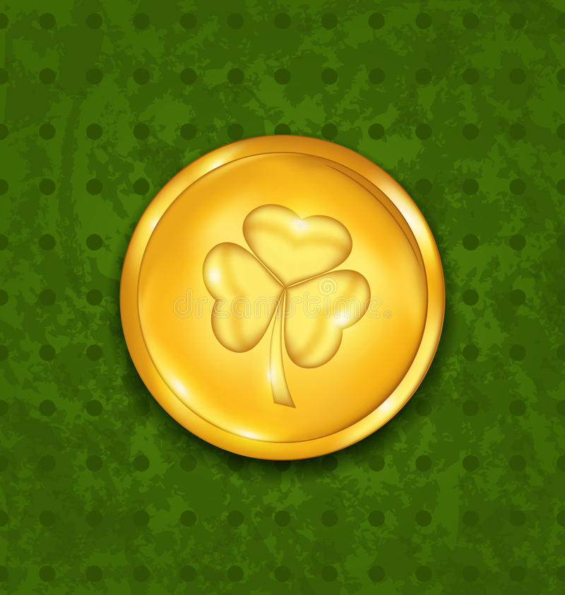 Golden coin with three leaves clover vector illustration