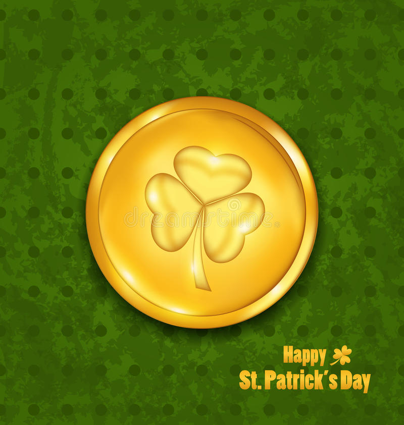 Golden coin with three leaves clover. Grunge St. Patrick`s backg stock illustration