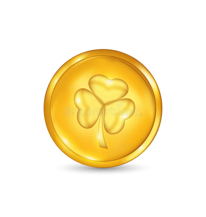 Golden coin with three leaves clover. St. Patricks royalty free illustration