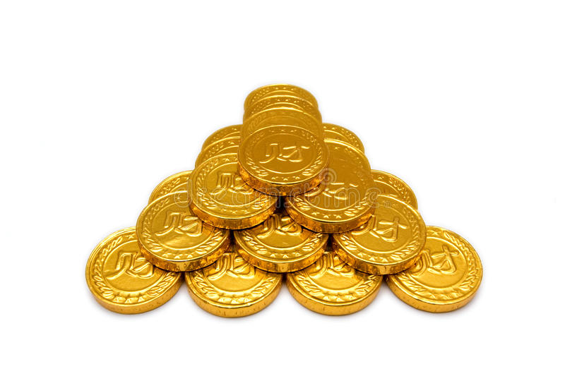 Golden coins isolated on white background. stock images