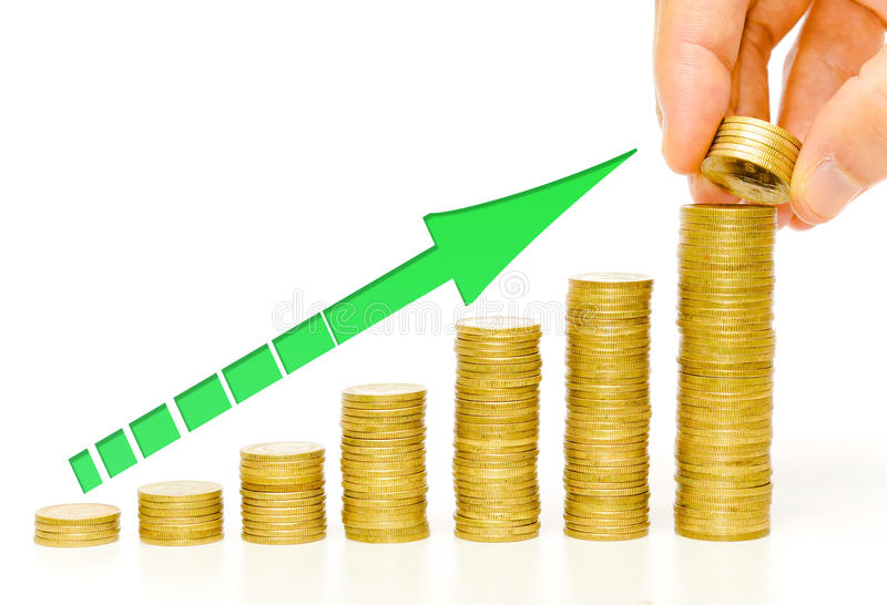 Golden coins / business growth royalty free stock image