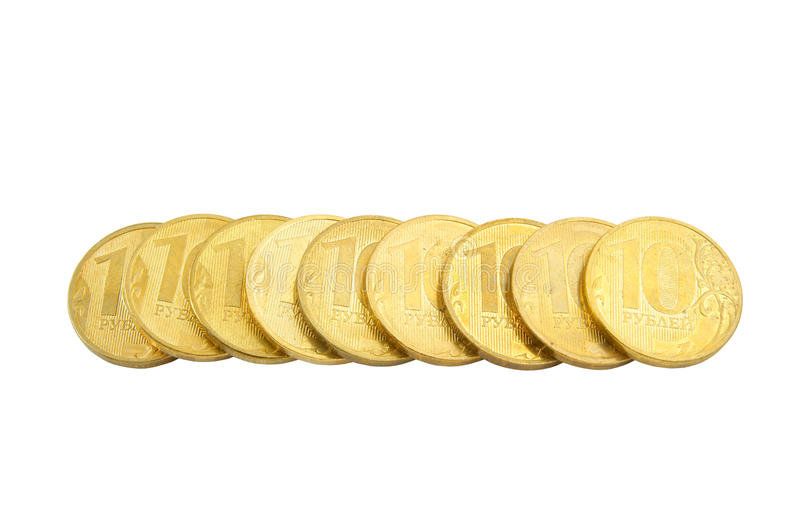 Golden coins isolated stock images