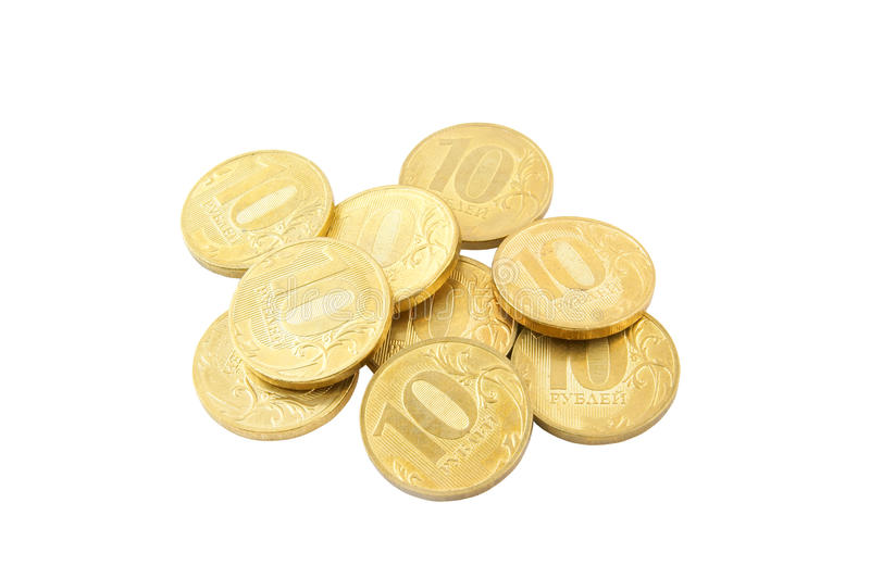 Golden coins isolated royalty free stock image