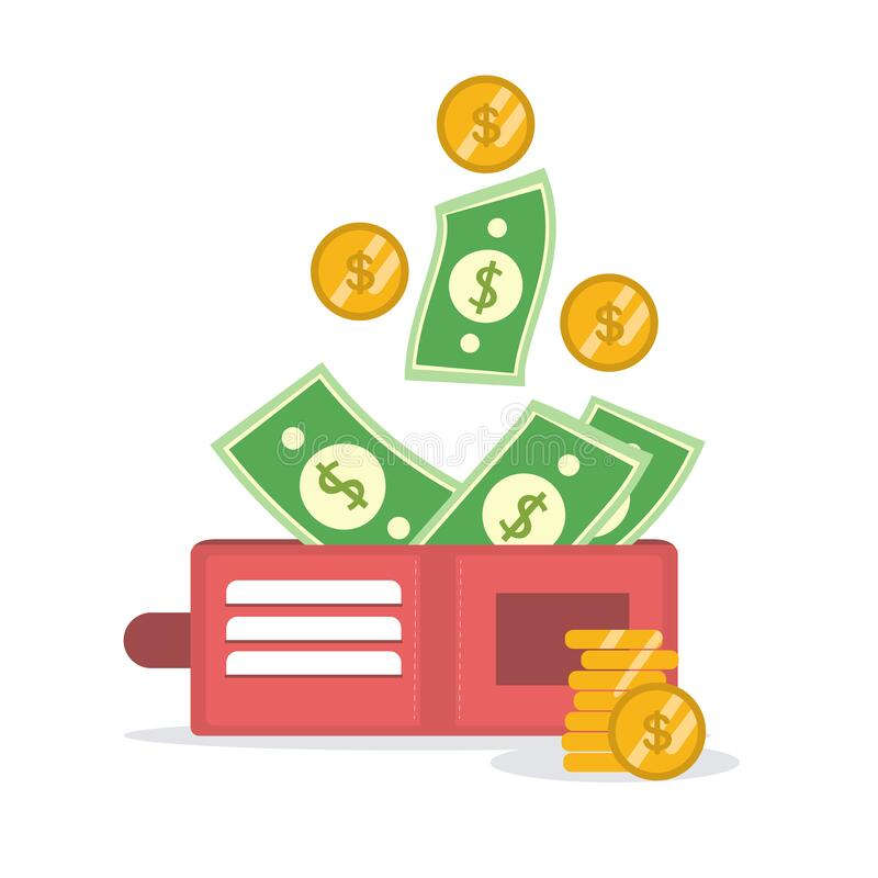Golden coins money flying in wallet vector illustration, idea of fund savings, cash earnings, financial success, getting wealth,. Salary income icon isolated on stock illustration