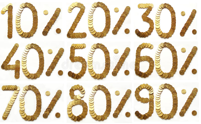 Golden Coins - Percentage Stock Photography