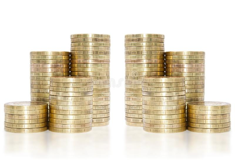 Golden coins stack on stock image