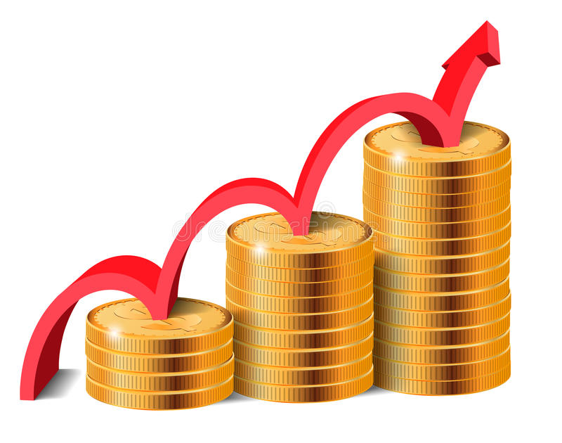 Golden Coins Stacks with Arrow, Vector Illustration. stock illustration