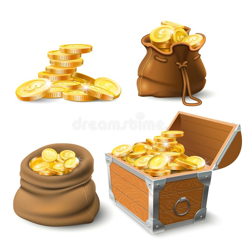 Golden coins stacks. Coin in old sack, large gold pile and chest vector illustration