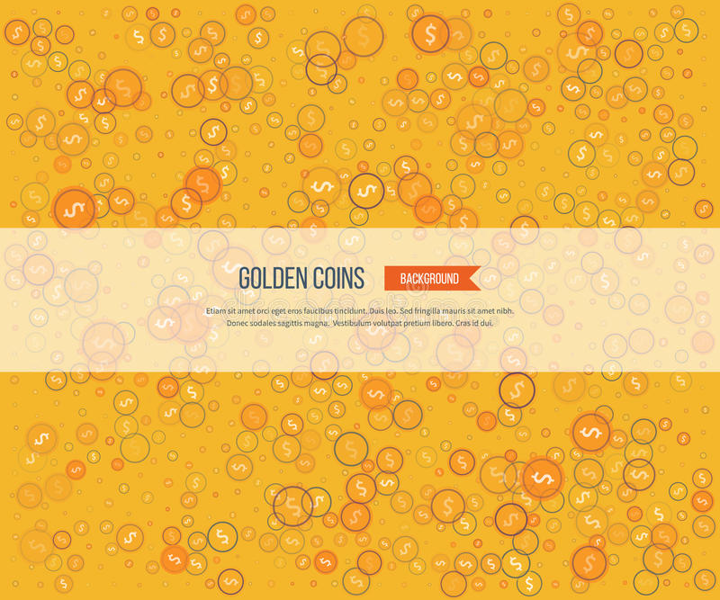 Golden coins on yellow background. Gold glitter background royalty free illustration