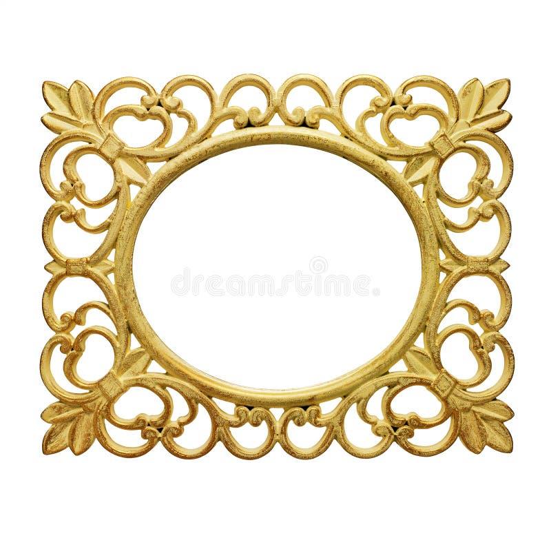 Golden color rustic frame against white background stock image