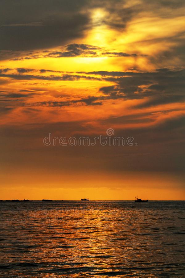 Golden color sunset, natural mystery of colours and reflection of the sea. Golden color sunset, natural mystery colors reflection stock photos