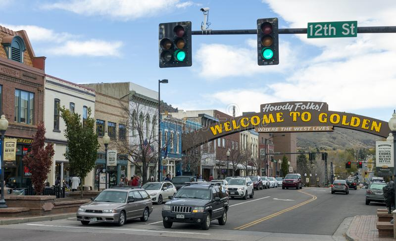 Golden Colorado,United States. GOLDEN, COLORADO, UNITED STATES - OCTOBER 22, 2017:Golden Colorado Main Street with an inscription `Welcome to Golden`.Historical royalty free stock photography