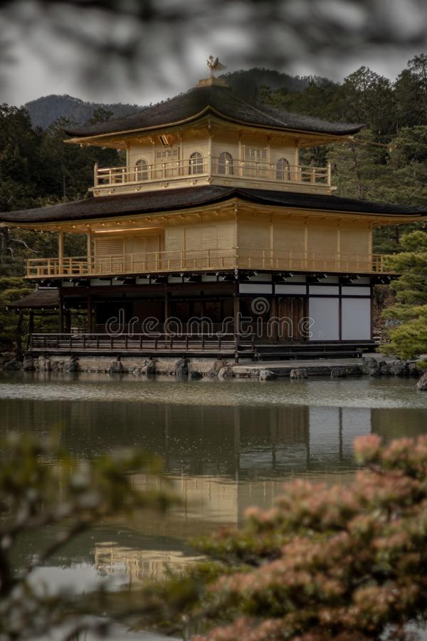 A golden coloured japanese style temple stock image