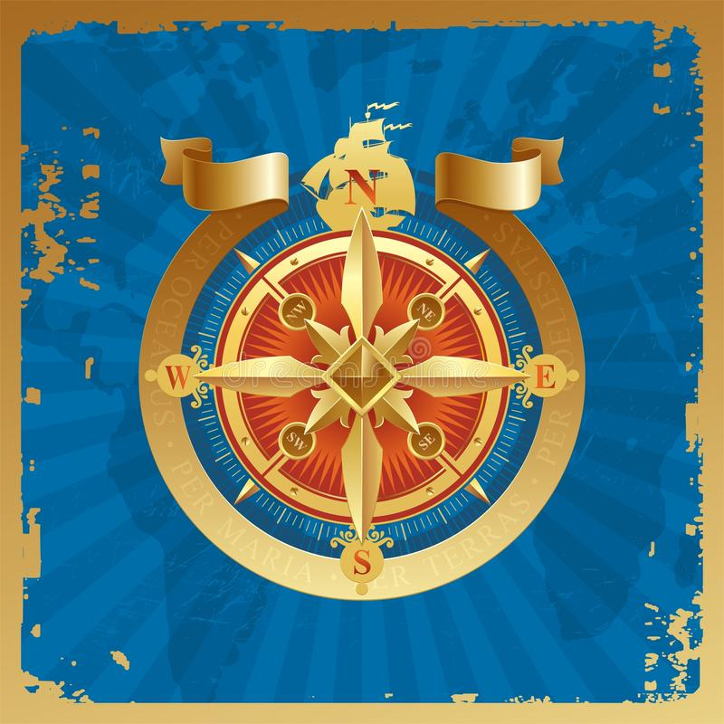 Golden compass rose. On a vintage grunge background