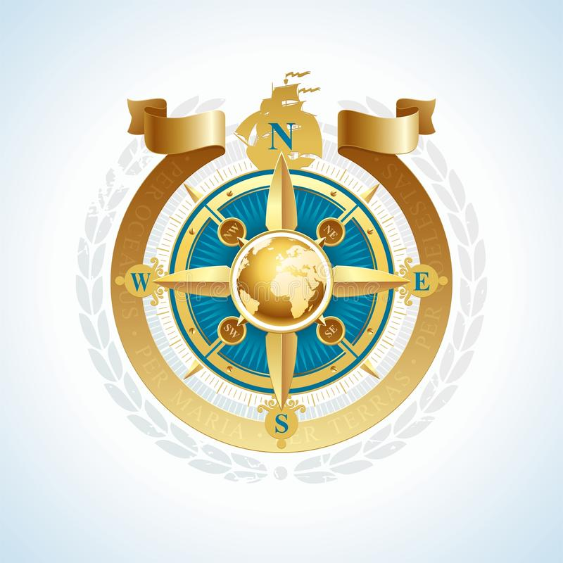 Golden compass rose with globe & ribbon royalty free illustration