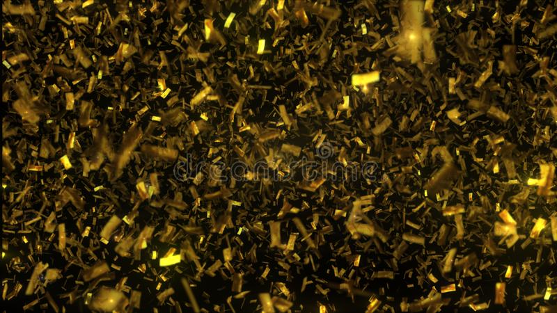Golden confetti fall on black background. 3D illustration stock image