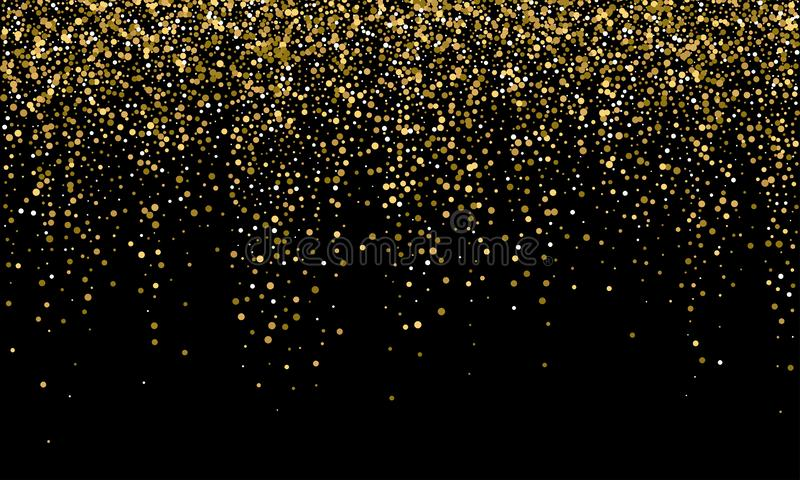 Golden confetti and falling gold glitter, black vector background. Carnival or birthday party glowing golden confetti background vector illustration