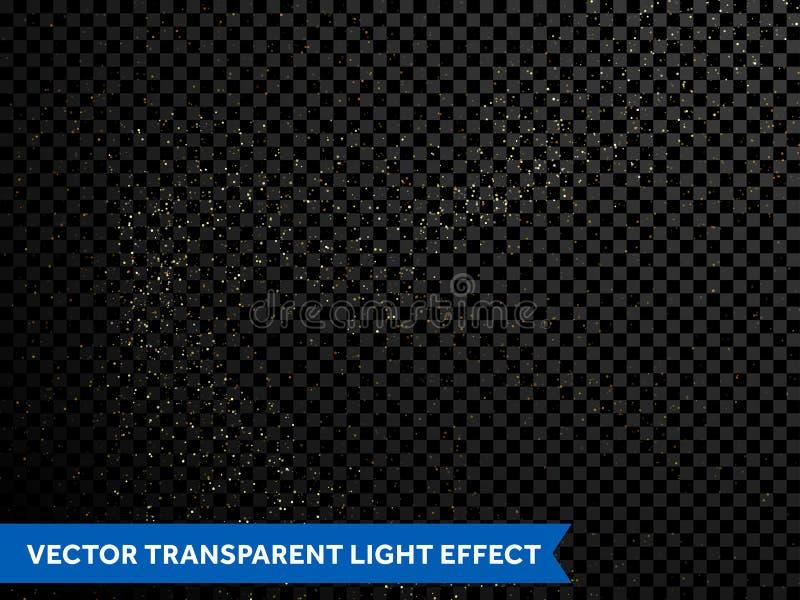Golden confetti glitter particles, falling shiny stars, sparkling gold dust vector illustration