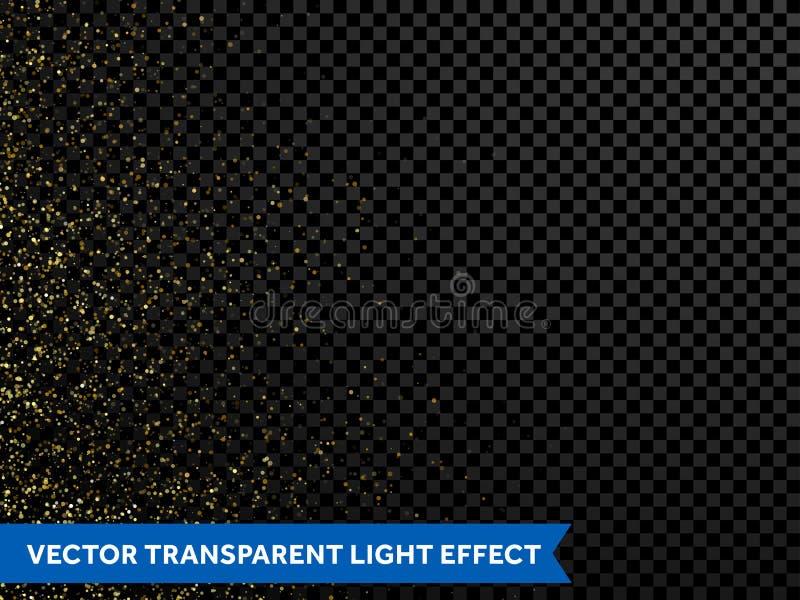 Golden confetti glitter particles, shimmering gold dust spray. Shimmering magic glow of shining particles and golden. Sparkling glittering light texture. Gold stock illustration