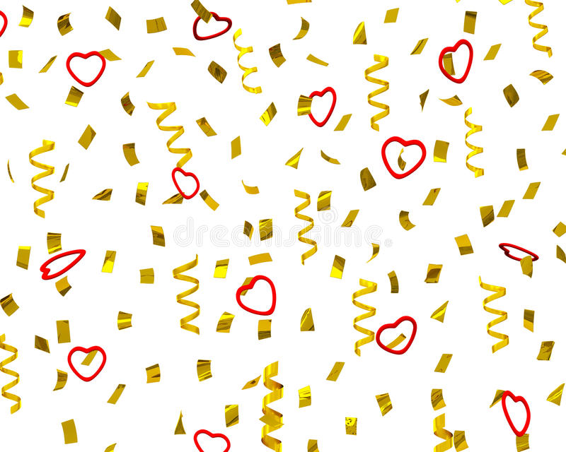 Golden confetti streamers with decorative hearts, 3d. Golden confetti with decorative red hearts - Valentine's day party streamers, 3d illustration vector illustration