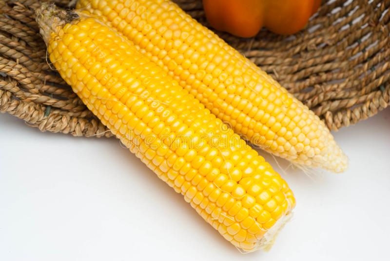 Golden Corn Isolated on a White Background. Top View of Two Raw corns. Summer Healthy Food. royalty free stock photo