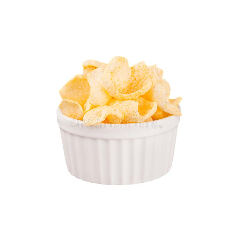 Golden Corn Flakes In White Bowl Isolated, Top View