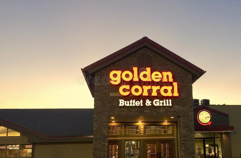 Golden Corral Buffet and Grill at Sunset royalty free stock photography