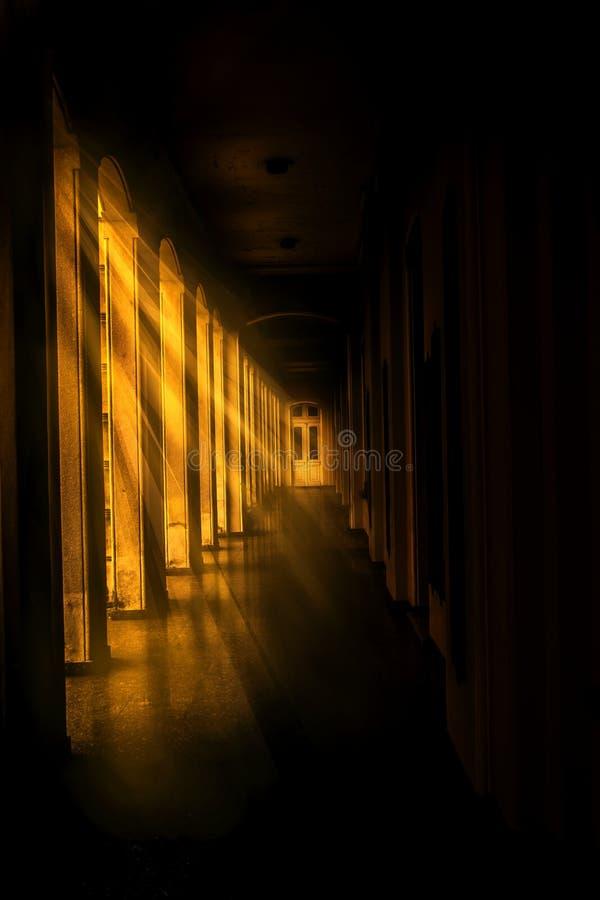 Golden corridor stock images