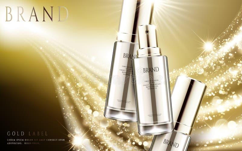 Golden cosmetic ads. Elegant silver spray bottle with sparkling light effect in 3d illustration vector illustration