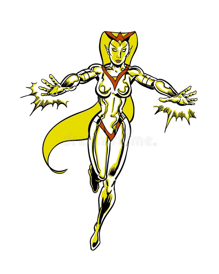 Golden cosmic lady comic book illustrated character royalty free illustration