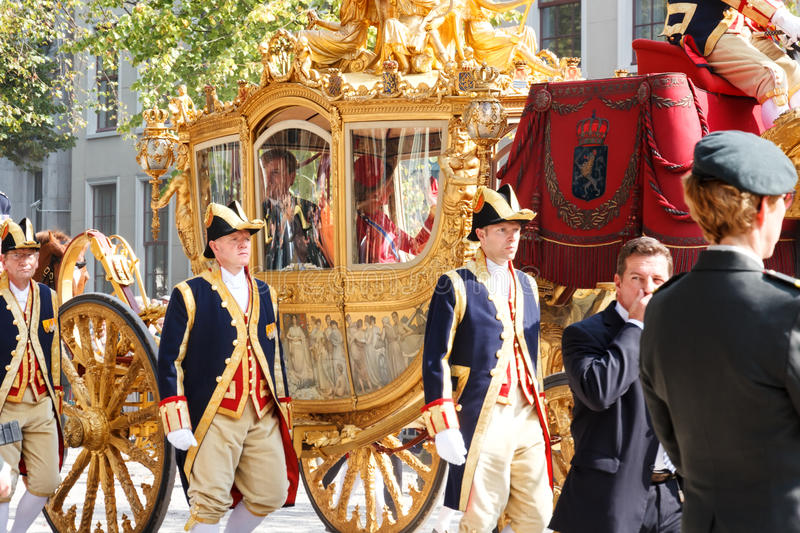 Golden Couch of Alexander the King of Netherlands. Prinjesday 16th Sep 2014, the second Tuesday of September, the KingAlexander of Netherlands opens the stock photos