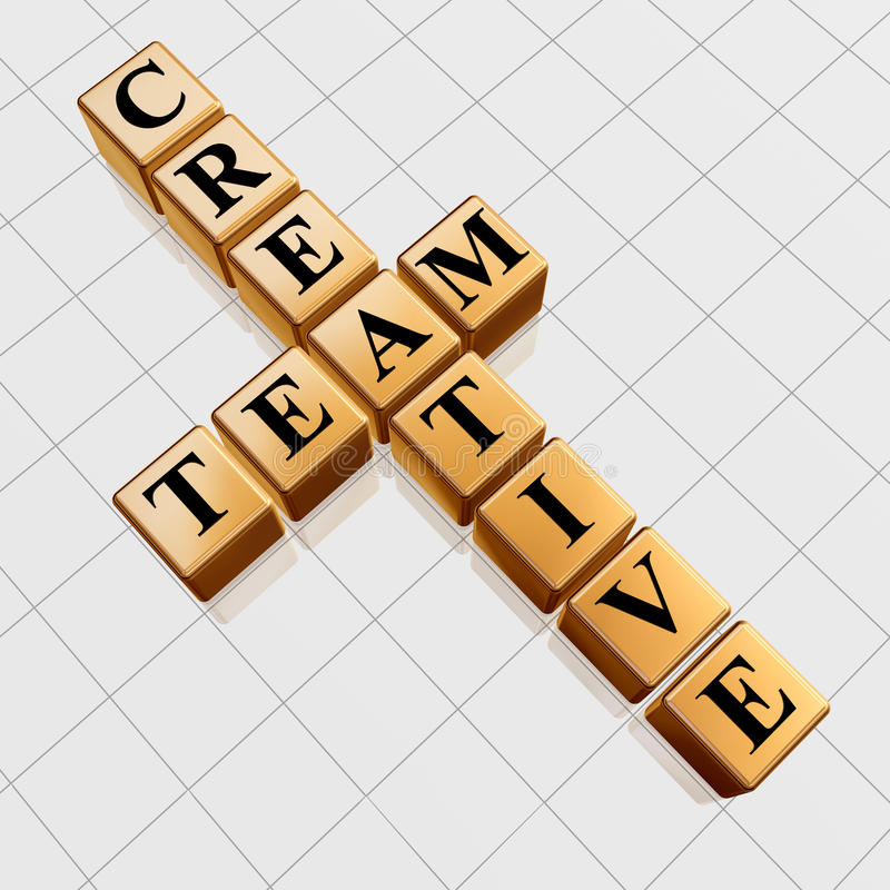 Golden creative team like crossword royalty free illustration