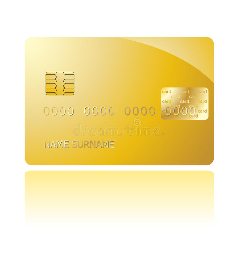 Golden credit card vector illustration