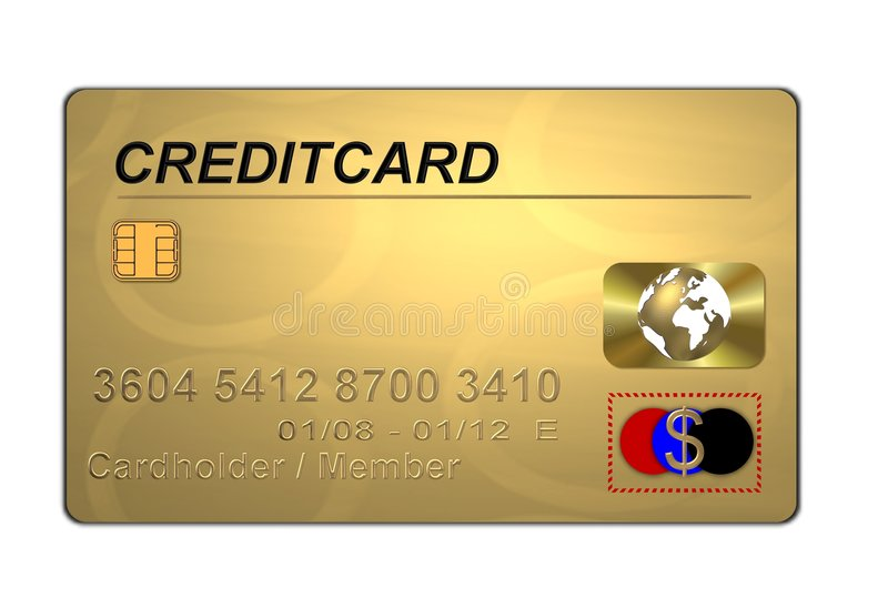 Golden credit card vector illustration