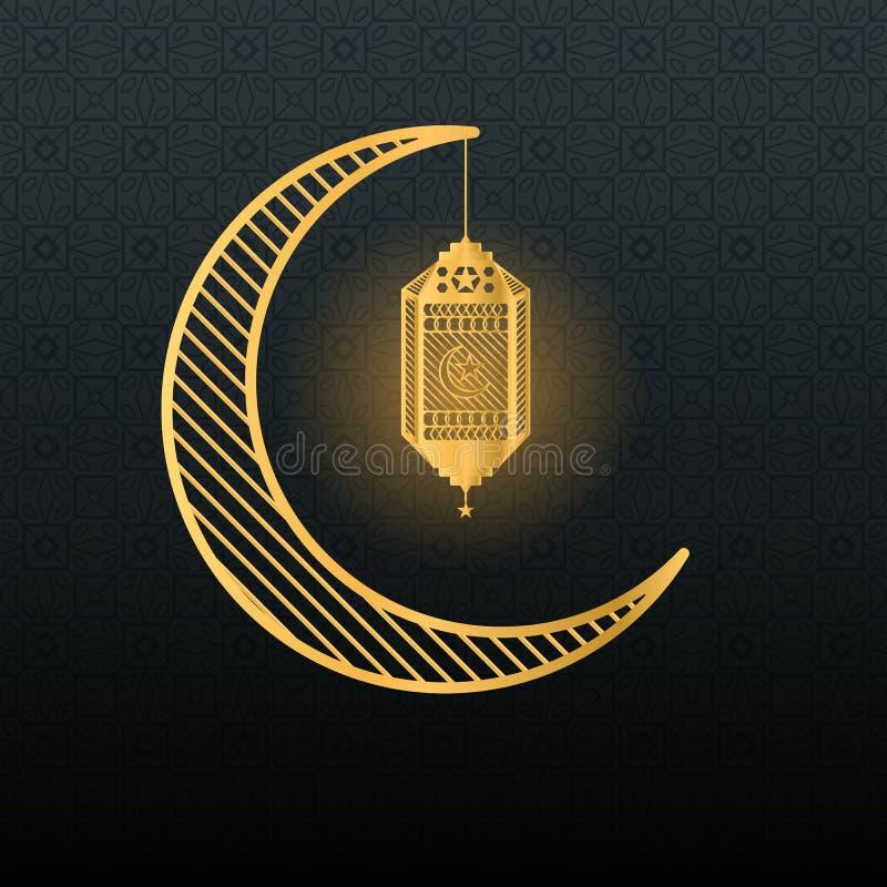 Golden crescent and lantern on dark background. Ramadan theme royalty free illustration