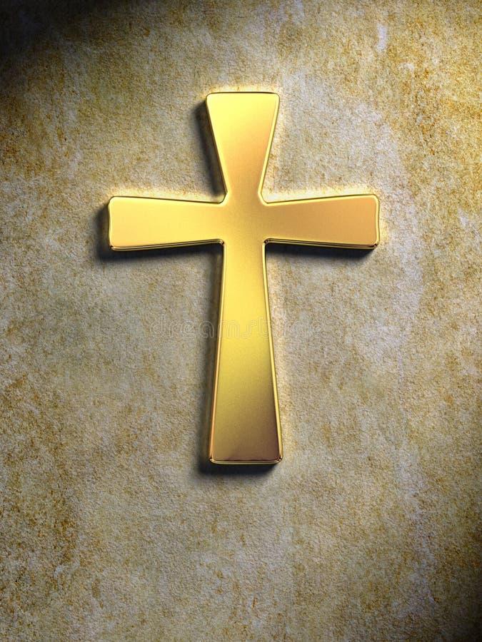 Golden cross. Golden religious symbol on a stone surface. Digital illustration vector illustration