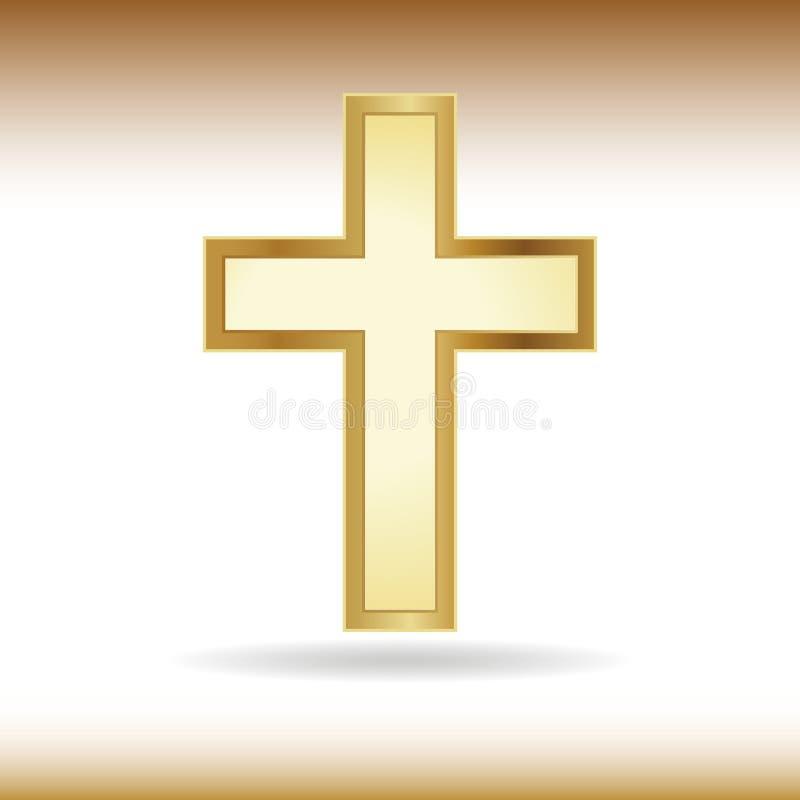 Golden cross. Symbol of the Christian faith stock illustration