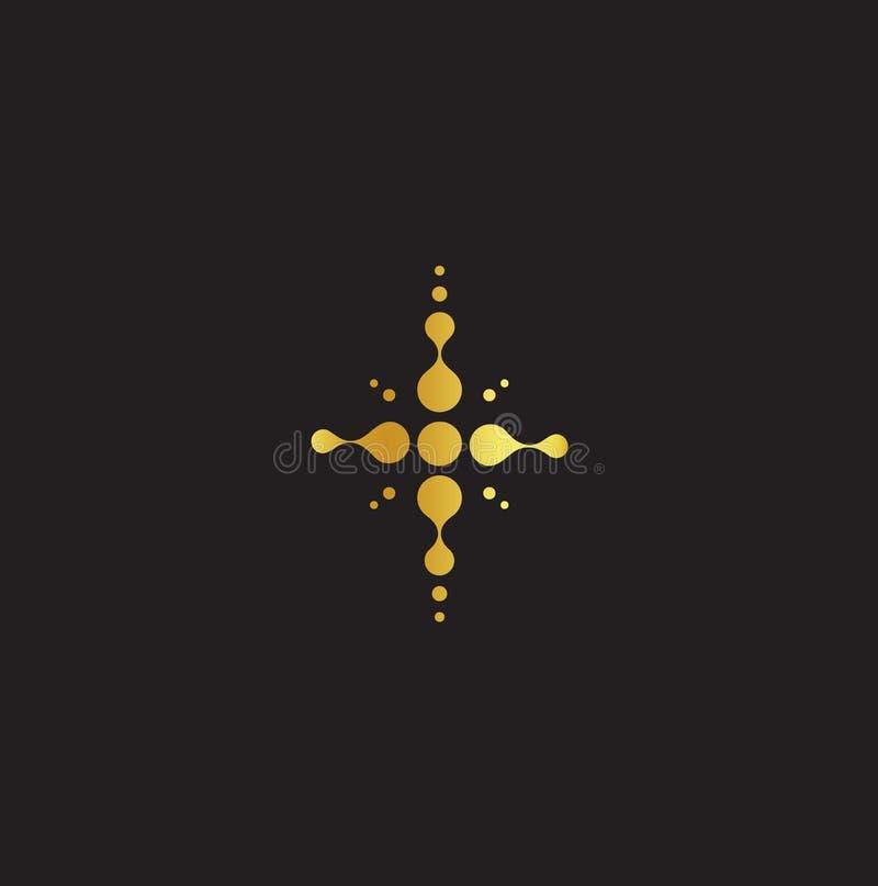 Golden cross, christian symbol, jesus abstract sign, religion logo. Church vector icon. Golden cross, christian symbol, jesus abstract sign, religion logo stock illustration