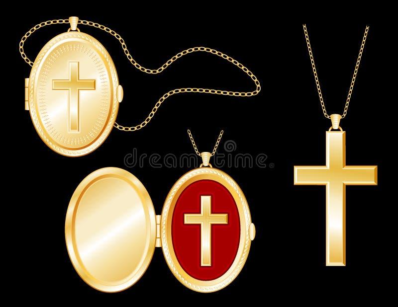 Golden Cross, Engraved Locket, Gold Chains stock illustration