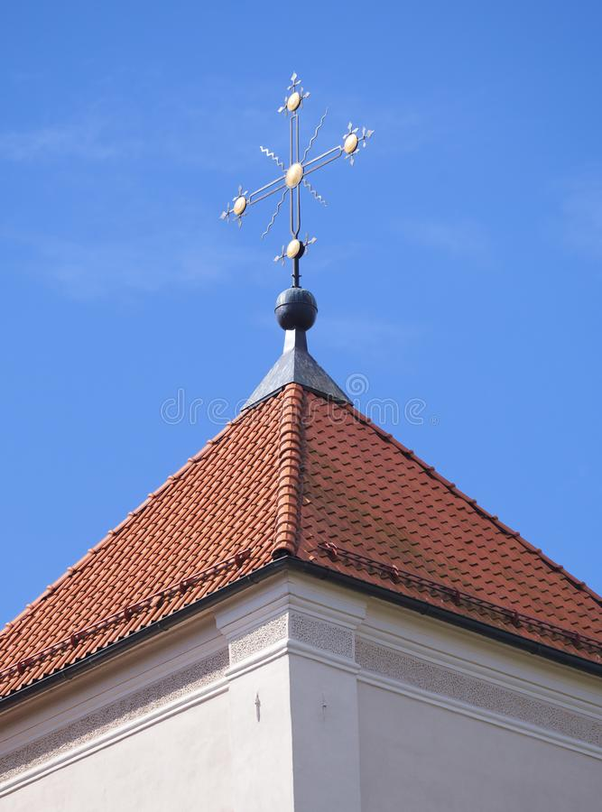 Blue White And Red Tiles On A Church Roof Stock Photo